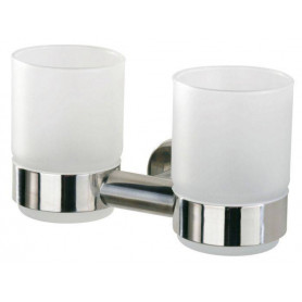 Tiger Boston glass holder with 2 glasses, brushed stainless steel
