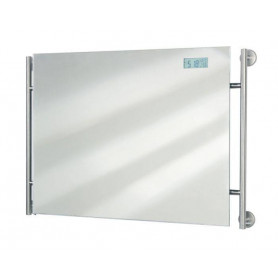 Tiger Boston mirror with clock, brushed stainless steel