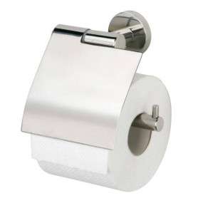 Tiger Boston toilet paper holder with cover, brushed stainless steel