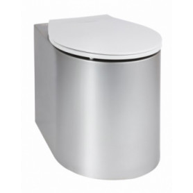 AZP Brno AUZ 02 stainless steel WC toilet bowl, floor mounted, with gray seat