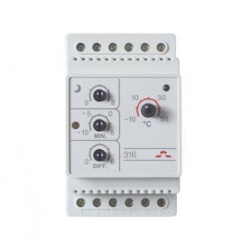Thermostat devireg™ 316, -10 … +50°C, 16 A, DIN, with upper and lower temperature limits and outdoor sensor, IP 44, 140F1075