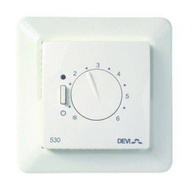 Thermostat devireg™ 530, 5..45°C, 15A, with floor sensor and JUSSI frame 140F1032