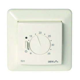 Thermostat devireg™ 531, 5..35°C, 15A, with room sensor and JUSSI frame 140F1036