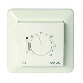 Thermostat devireg™ 532, 5..35°C, 15A, with floor temperature limit and JUSSI frame 140F1039