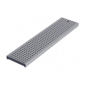 ACO modular 125 reste perforated grating W123 L999,5 E20, bar 20x5, LC A15, EN1433, 1.4301