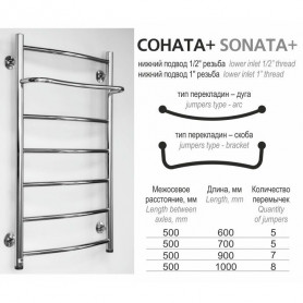 Rosela Sonāte + hot water system towel dryer, with shelf
